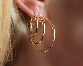 Gold Hoop Earrings | gift for her | classic everyday lightweight earrings | secure latch back