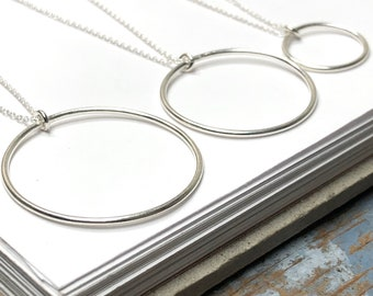 Smooth Circle Pendant Necklace   minimalist jewelry   gift for her   925 sterling silver