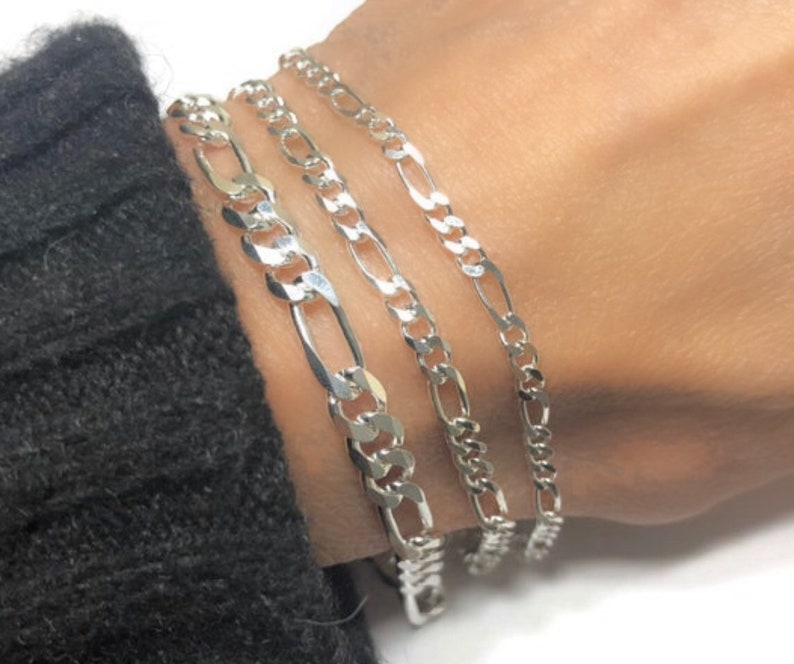 Solid Silver Bracelet  Figaro Italian-made chain  Men Women image 0