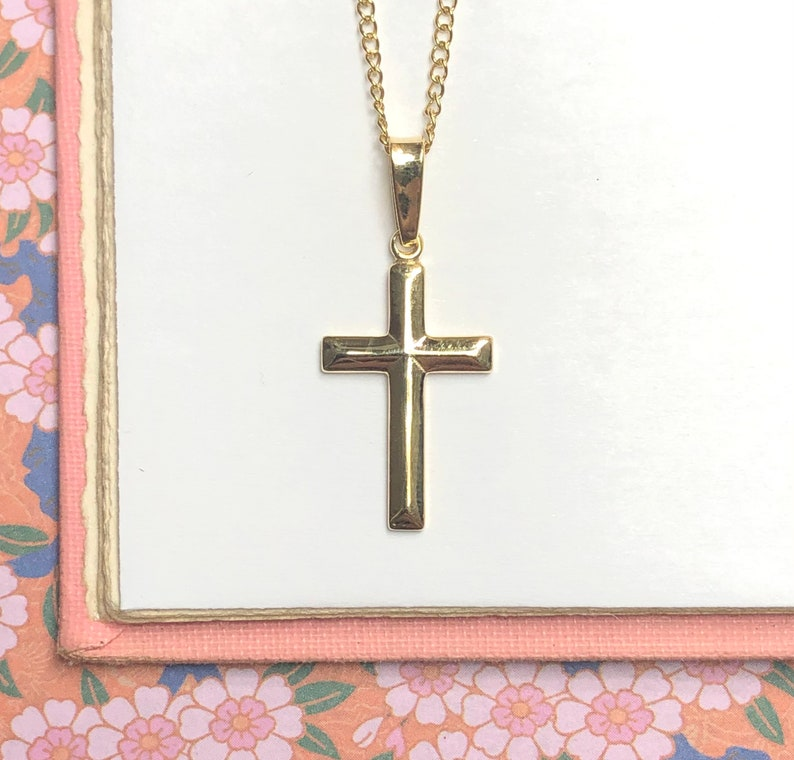 Gold Cross Pendant or Necklace  Religious Christian Crucifix image 0