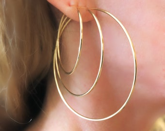 Gold Hoops - endless infinity sleeper - larger gold-filled hoops in 3 sizes - 4, 5, 6.5cm - classic skinny lightweight everyday earrings