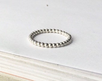 Silver Bead Ball Ring   sterling stacking band   dot bubble skinny stacker   925 sterling silver