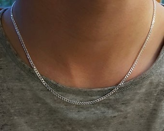 Sterling Silver Curb Chain   3mm curb necklace   silver Cuban chain  