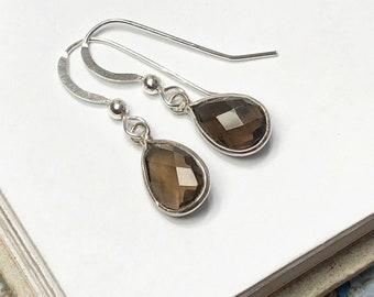 Brown Smoky Quartz earrings - round or teardrop shaped drops in bezel settings -925 sterling silver shepherd hooks