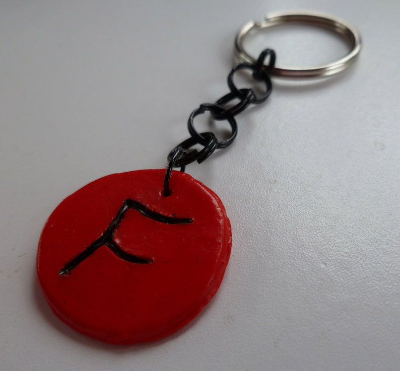 Red Intial F Keychain image 0