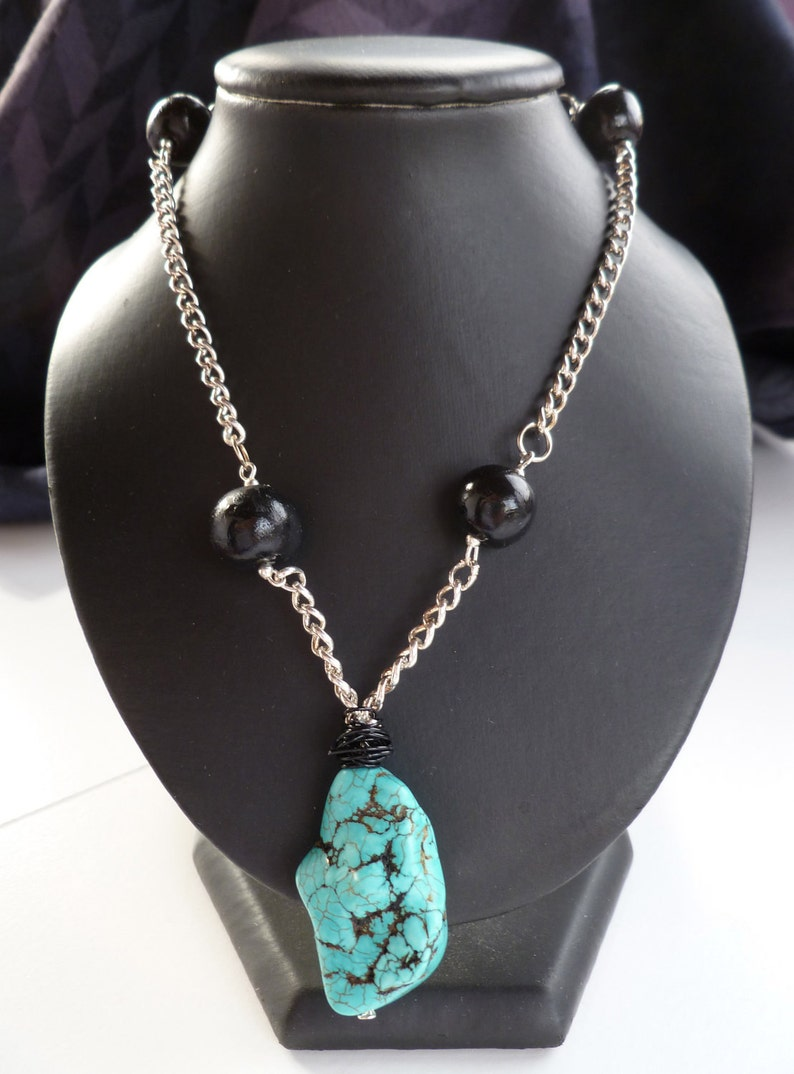 Turquoise Focal Point Necklace image 0