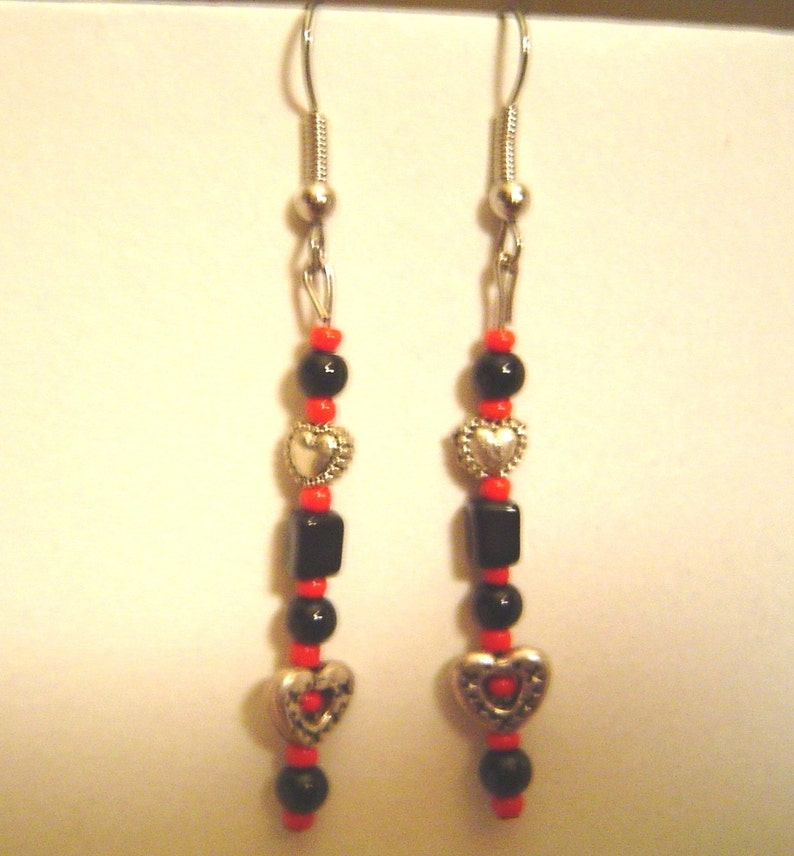 Black and Red Heart Earrings image 0