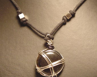 Silver and Black Wire Wrapped Pendant