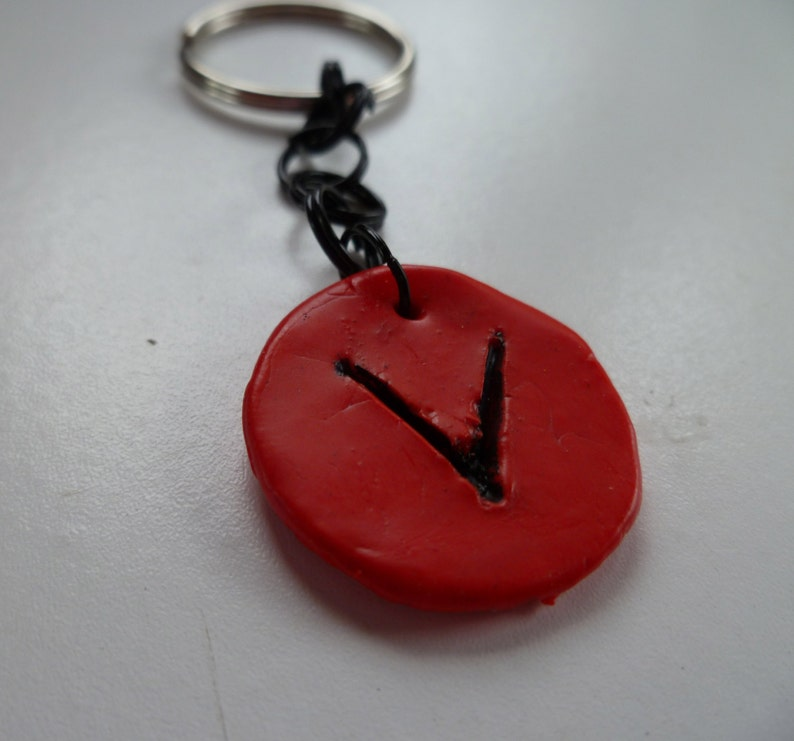 Red Intial V Keychain image 0