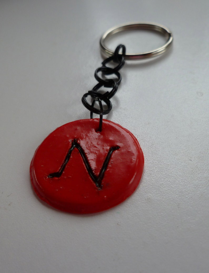 Red Intial N Keychain image 0