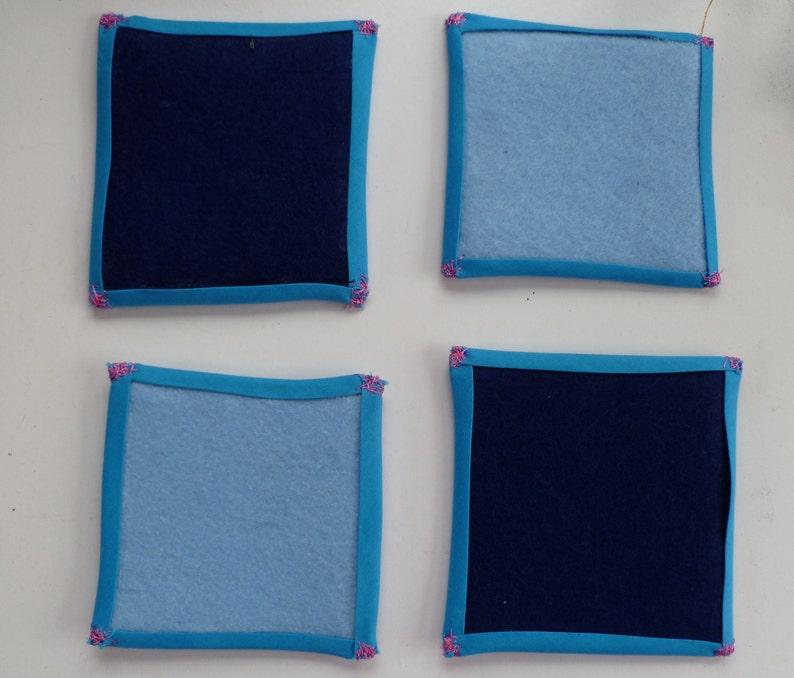 Dark and Light Blue Handmade Felt Coasters image 0