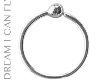 Captive Bead Ring 9mm 20g Silver 9mm Sprouted Nose Ring Etsy