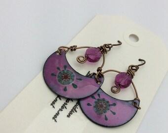 ABO Artisan Made Enamel and Swarovski Crystal Earrings