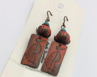 ABO Artisan Made Pewter Dodo Bird Earrings