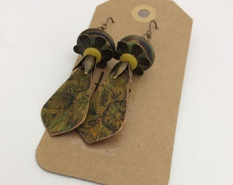ABO Artisan Made Copper and Lamp Work Glass Earrings