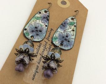 ABO Artisan Made Enamel Flower Earrings