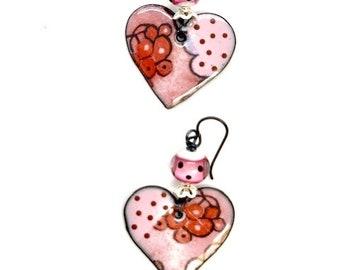 ABO Artisan Made Enamel /& Lamp Work Earrings.