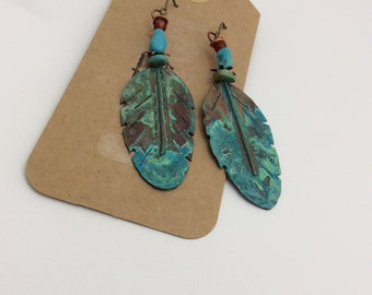ABO Artisan Made Copper Feathers and Turquoise and Carnelian Earrings