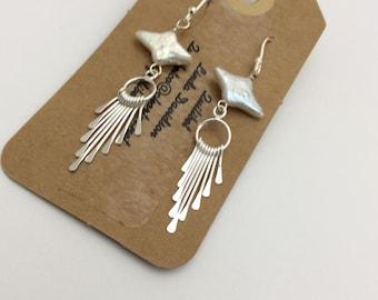 ABO Sterling Silver and Pearl Tassel Earrings.