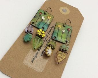 ABO Artisan Made Enamel Garden Earrings