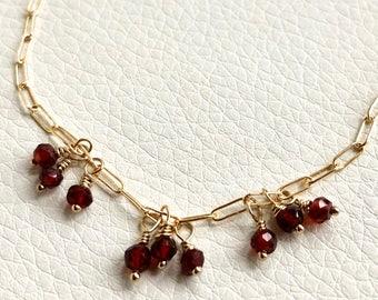 Garnet Bracelet, Anniversary Gift, Garnet & Gold Bracelet, Cluster Garnet Bracelet, January Birthstone, Red Gemstone, Adjustable Bracelet