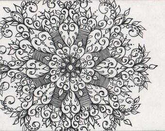 Original ACEO Black and White Snowflake 1