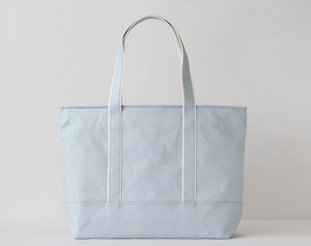 794fa8ca9 Canvas Tote Bag,Canvas Beach Bag,Tote bag,Dark Beige Navy tote,Medium size tote  bag,hard starch canvas