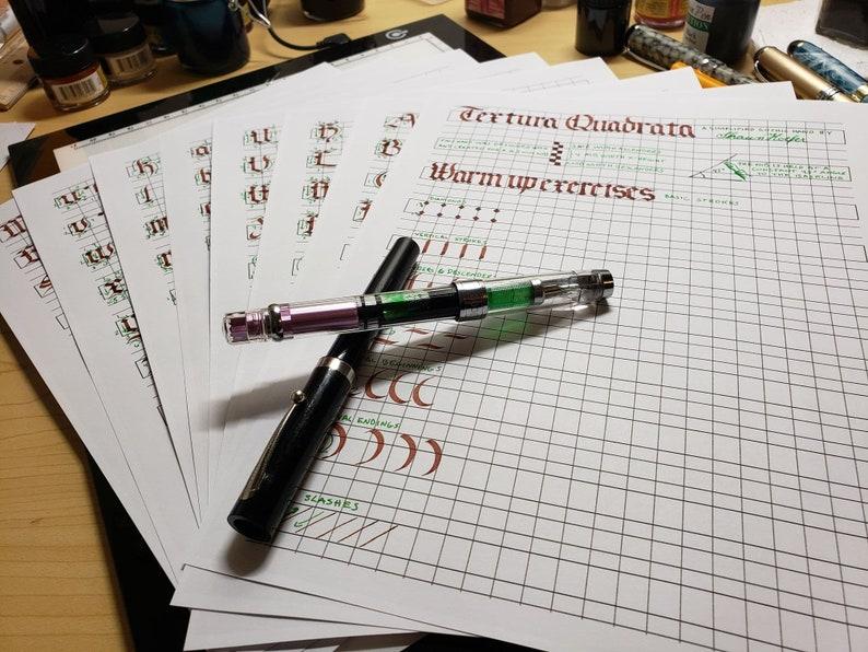 Learn Calligraphy Textura Quadrata Ductus Practice Sheets image 0