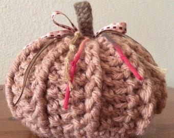 Chunky Crochet Pumpkin - Medium Size - Toasty Warm Beige - Great Texture - Cozy All Season Decor - Free USA Shipping