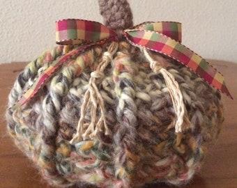 Chunky Crochet Pumpkin - Medium Size - Rustic Multicolors - Great Texture - Cozy All Season Decor - Free USA Shipping