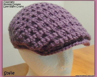 Instant Etsy Download PATTERN - Newsie Cabbie Cap Crochet Pattern-Awesome Texture - Ladies Sizing and Man Size Small