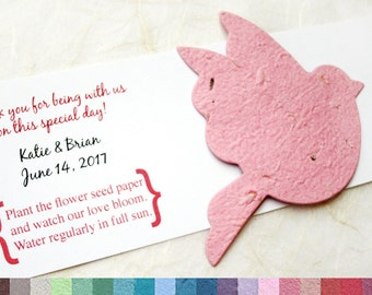 50 Plantable Seed Paper Doves Bird Seed Wedding Favors - Flower Seed Paper Doves - Personalized Bird Seed Favor Cards