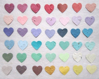 100+ Flower Seed Paper Confetti Hearts Wedding Favors - Red Pink Blue Green Yellow Purple and more - Plantable Paper