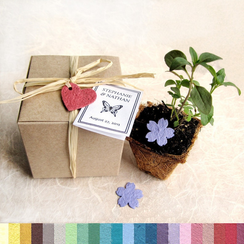 45 Flower Seed Paper Wedding Favors Plantable Paper And Pots Seed Planter Favor Box Kit