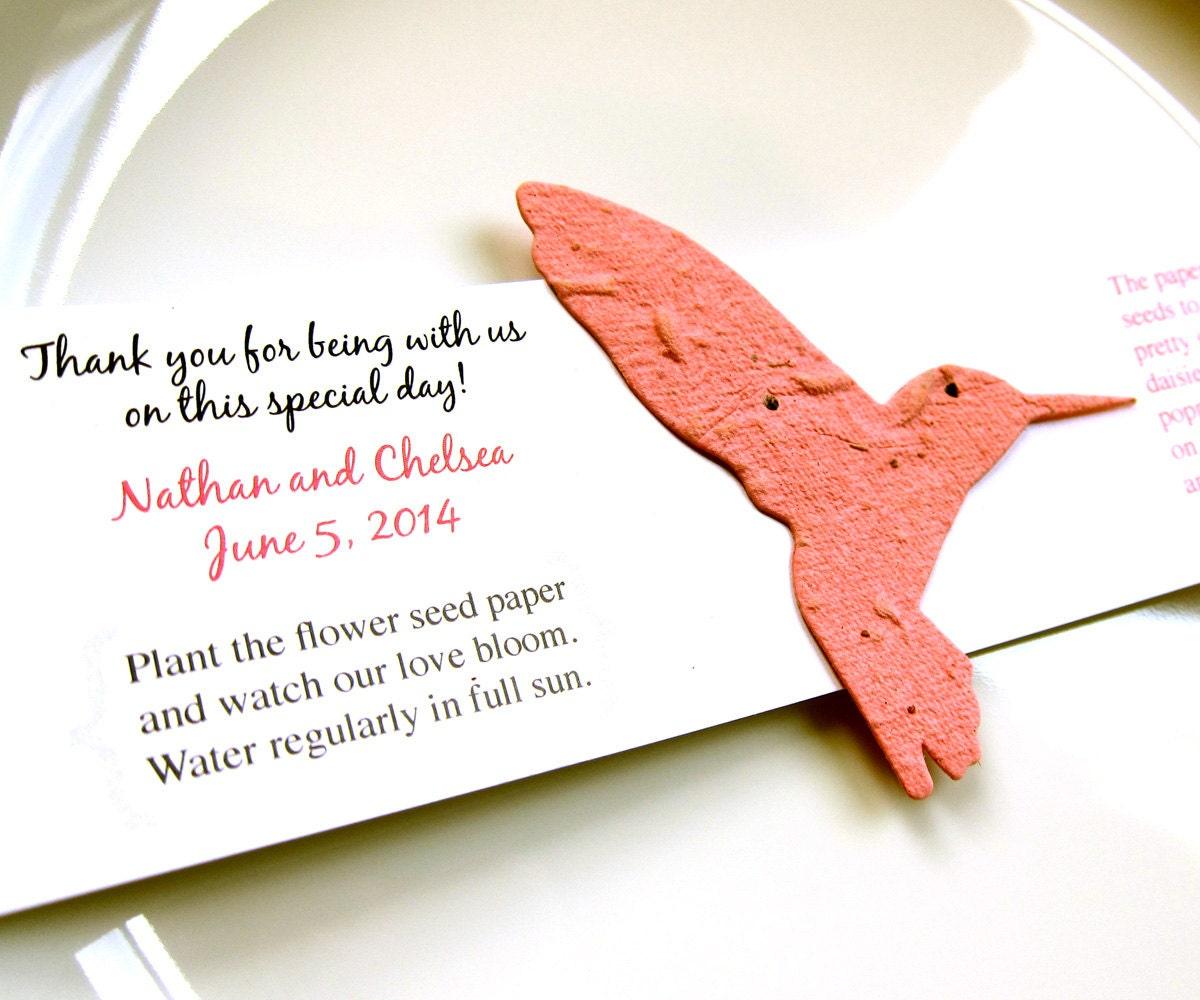 40 Seed Paper Hummingbird Wedding Favors Plantable Paper Etsy