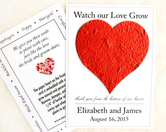 100 Watch Our Love Grow Seed Wedding Favors - Flower Seed Paper Heart - Thank You from Bottom of our Hearts Favor Cards