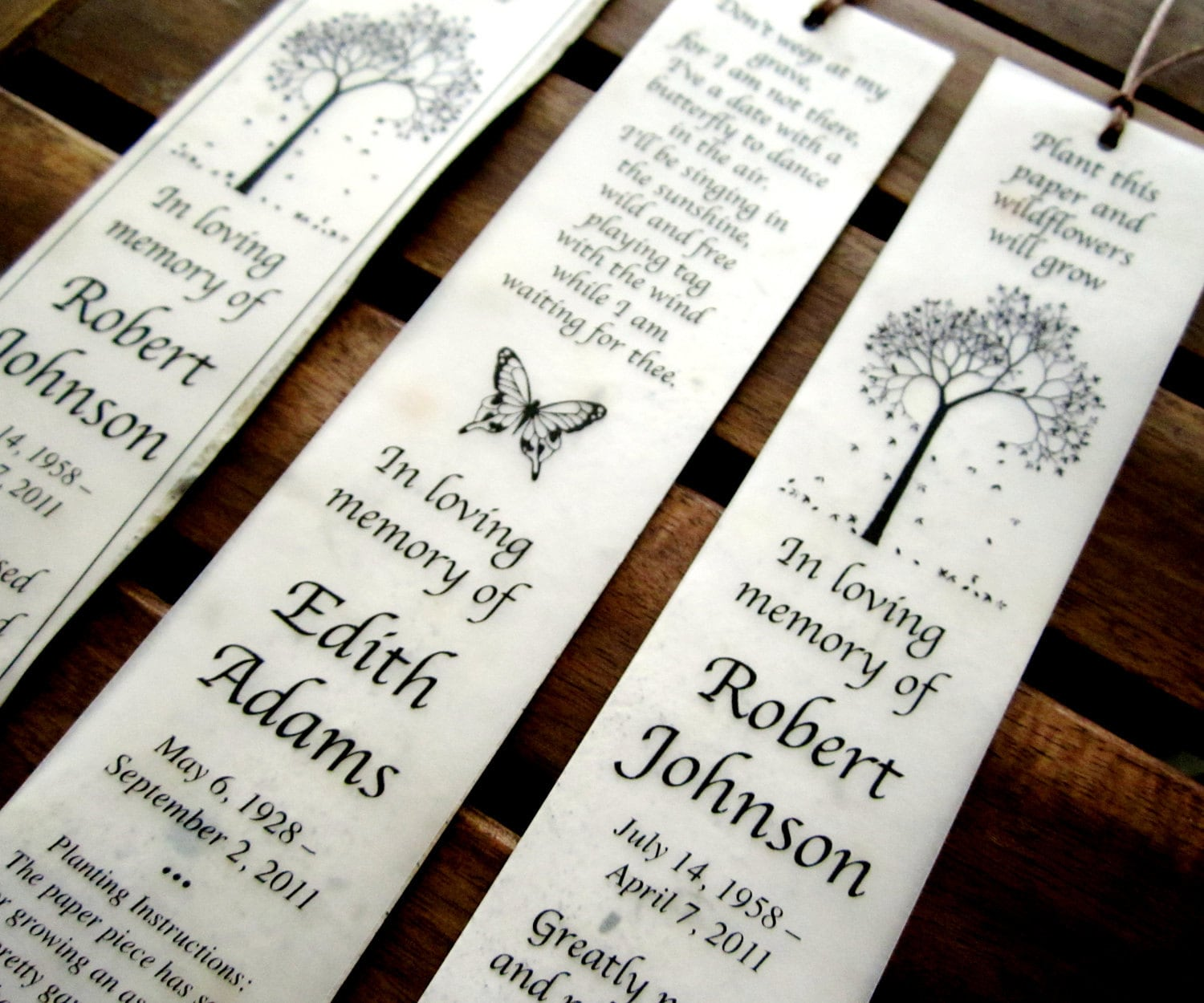 50 Plantable Seed Paper Bookmarks Memorial Funeral Favors