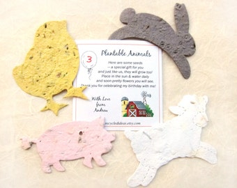 25 Farm Birthday Party Favors - Plantable Seed Paper Pigs Cows Sheep Chicks - Barn Yard Animal Birthday Party Personalized Favor Cards