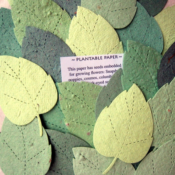 100 seed paper leaves weding favor diy place cards plantable etsy image 0 mightylinksfo