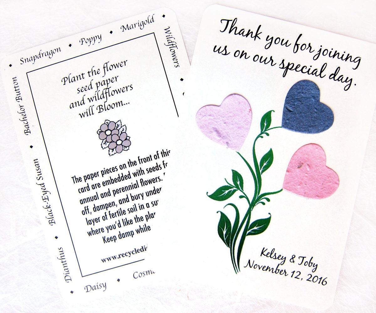 100 Plantable Daisy Wedding Favor Thank You Cards Etsy