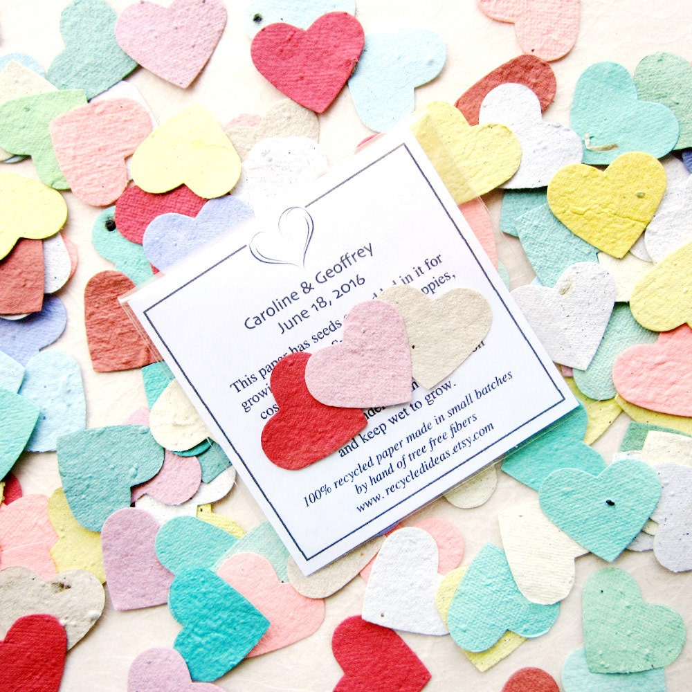 100 Seed Hearts Wedding Favors Plantable Flower Seed Paper