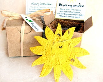 12 Flower Seed You are My Sunshine Baby Shower Favors - Trip Around the Sun Birthday Party Favor Plantable Paper - Add Clouds