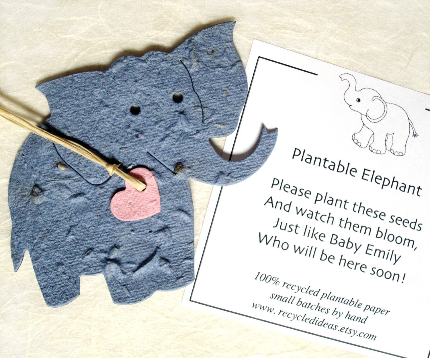Elephant Baby Shower Favors Plantable Seed Paper Elephants