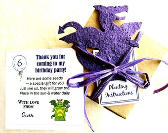 30 Plantable Paper Dragon Birthday Party Favors with Flower Seed Paper Dragons - Custom Dragon Card Option