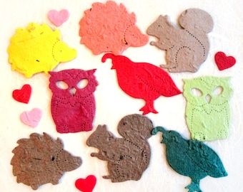 50 Woodland Wedding Favors Plantable Seed Paper Hedgehogs Owls Quails Squirrels Woodland Animals - Flower Seed Paper - Baby Shower Favor