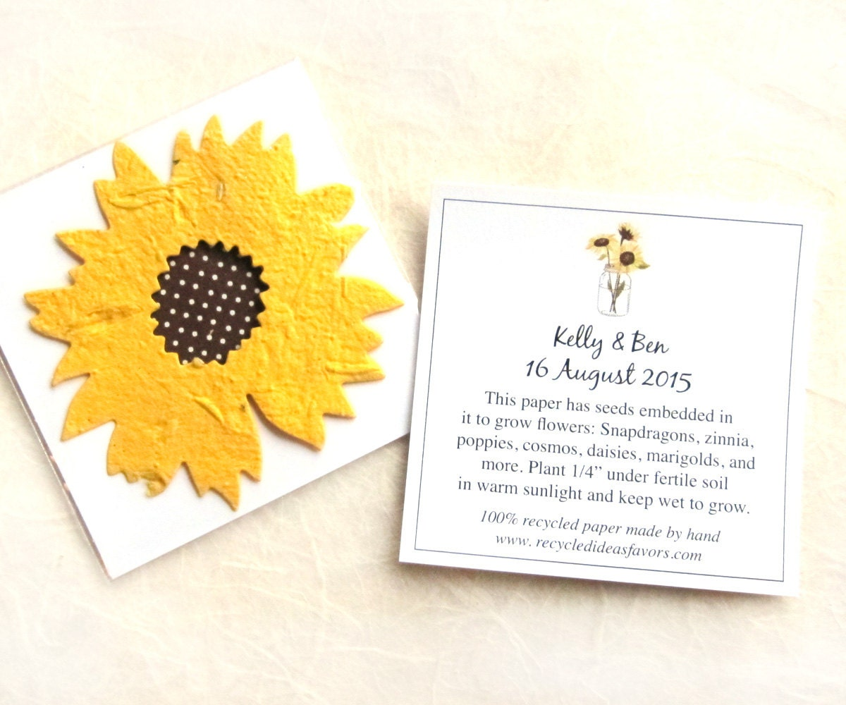 Flower Seed Wedding Favours: 100 Sunflower Seed Wedding Favors Golden Yellow Plantable