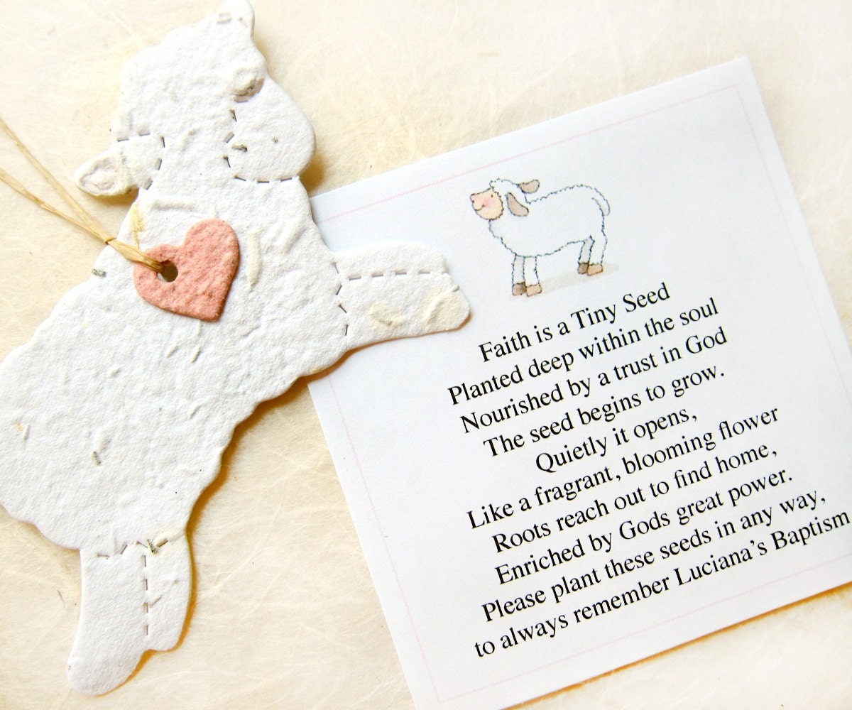 15 Seed Paper Lamb Baptism Favors Baby Shower Seed Favor