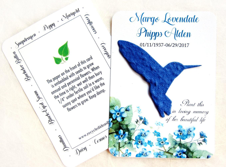 80 Plantable Hummingbird Memorial Cards Flower Seed Paper Etsy