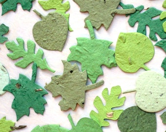 100 Green Seed Paper Leaves - Wedding Favors Leaf Confetti - Plantable Flower Seed Paper Leaves