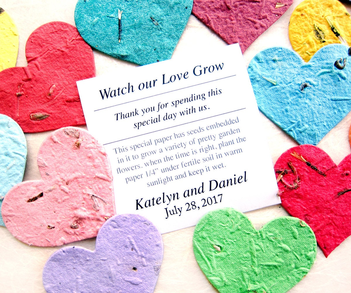 100 Medium Size Plantable Paper Hearts Wedding Favors with